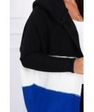 Trijų spalvų megztinis su gobtuvu (Juoda)+(Šilko spalva)+(Mėlyna)