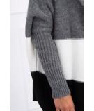 Trijų spalvų megztinis su gobtuvu (Grafito)+(Šilko spalva)+(Juoda)