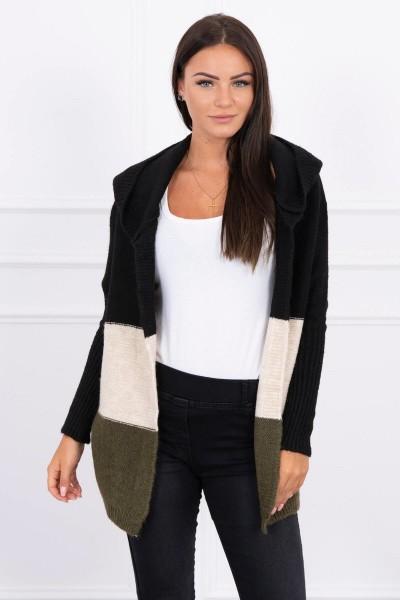 Trijų spalvų megztinis su gobtuvu (Juoda)+(Smėlio spalva)+(Khaki)