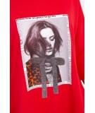 Suknelė su aplikacija ir platėjančiu sijonu (Raudona)