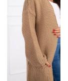 Megztinis Kardiganas su kišenėm (Šviesiai ruda)