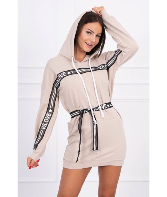 Suknelė papuošta su juostele (Smėlio spalva)