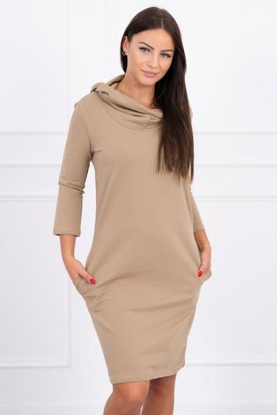 Suknelė su gobtuvu ir kišenėmis (Šviesiai ruda)