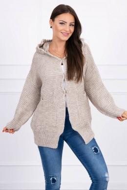 Megztinis su stilingu užsegimu (Tamsi) (Smėlio spalva)
