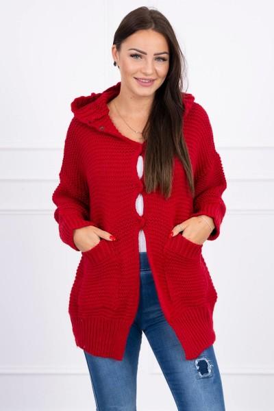 Megztinis su stilingu užsegimu (Raudona)