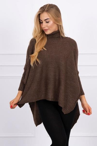 Megztinis su ilgu kaklu ir side slits (Ruda)