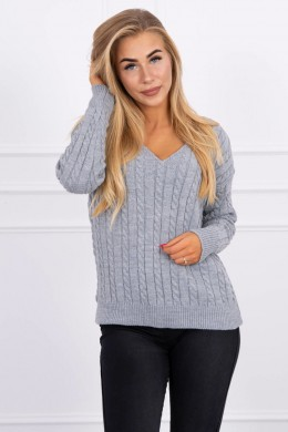 Braided sweater su iškirpte (Pilka)