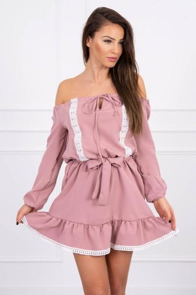 Atvirų pečių dress ir lace (Tamsi) (Rožinė)