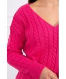 Braided sweater su iškirpte (Fuksijos)