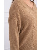 Classic sweater su V-neckline (Šviesiai ruda)