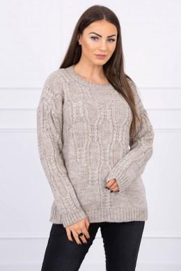 Megztinis su ilgomis rankovėmis (Tamsi) (Smėlio spalva)