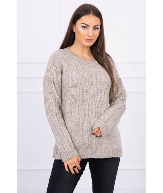Megztinis su an openwork weave (Tamsi) (Smėlio spalva)