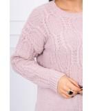 Megztinis su an openwork weave (Šviesiai) (Rožinė)