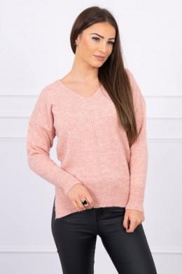 Megztinis su ilgene nugara ir iškirpte (Šviesiai) (Rožinė)