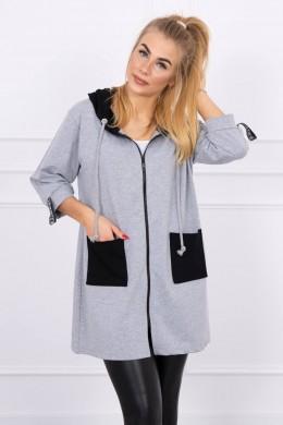 Hooded sweatshirt plus size (Pilka)