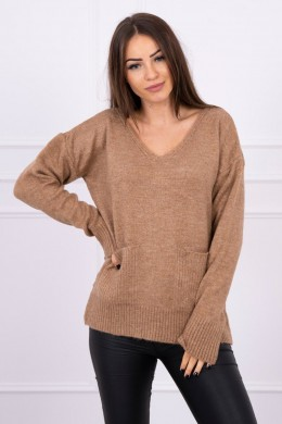 Megztinis su kišenėmis (Kapučino)