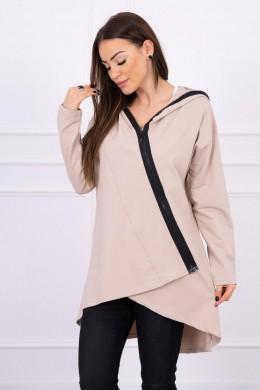 Megztukas su an oblique zipper (Smėlio spalva)