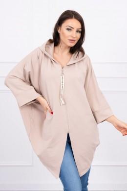 Hooded sweatshirt su batwing rankovės Oversize (Smėlio spalva)