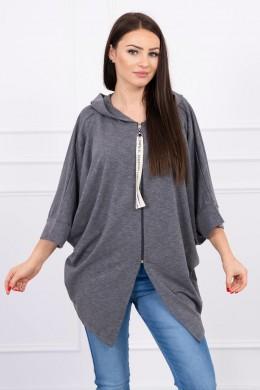 Hooded sweatshirt su batwing rankovės Oversize (Grafito)