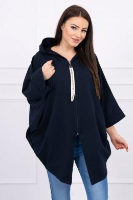 Hooded sweatshirt su batwing rankovės Oversize (Tamsiai mėlyna)
