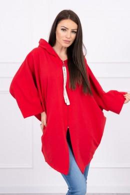 Hooded sweatshirt su batwing rankovės Oversize (Raudona)