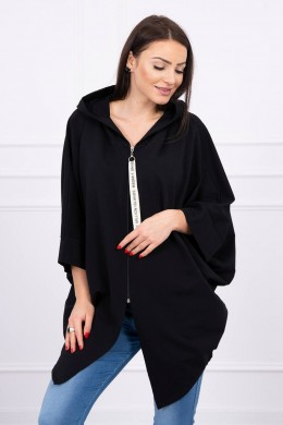 Hooded sweatshirt su batwing rankovės Oversize (Juoda)