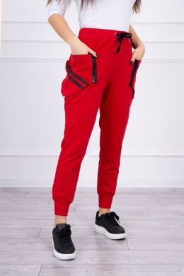 Kelnės su dekoratyviniais užtrauktukais (Raudona)