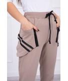 Kelnės su dekoratyvinėmis zip at the pockets (Kapučino)