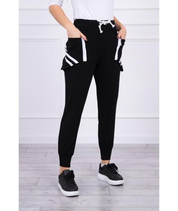 Kelnės su dekoratyvinėmis zip at the pockets (Juoda)