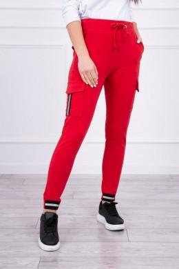 Kelnės cargo su juostomis (Raudona)