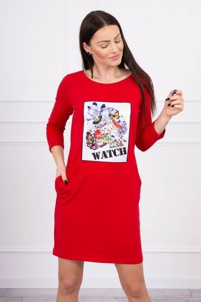 Suknelė su 3D laikrodžio aplikacija (Raudona)
