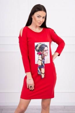 Suknelė su 3D aplikacija ir platėjančia apačia (Raudona)