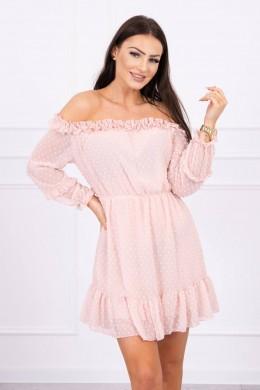 Atvirų pečių dress su stilingomis raukšlėmis (Šviesiai) (Rožinė)