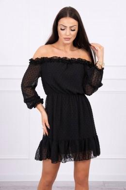 Atvirų pečių dress su stilingomis raukšlėmis (Juoda)