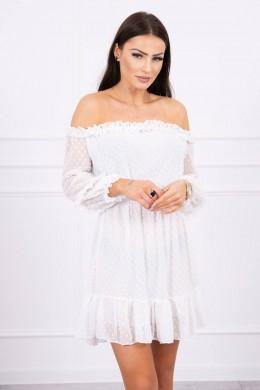 Atvirų pečių dress su stilingomis raukšlėmis (Šilko spalva)