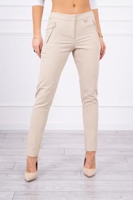 SElegant Kelnės su zippers (Smėlio spalva)