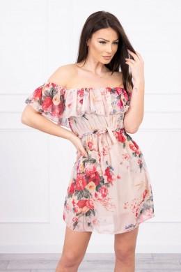Atvirų pečių floral dress (Smėlio spalva)