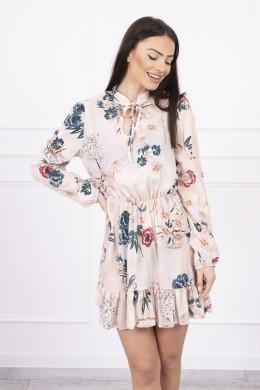 Gėlėta suknelė su užtraukiama iškirpte (Smėlio spalva)