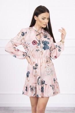 Gėlėta suknelė su užtraukiama iškirpte (Šviesiai) (Rožinė)