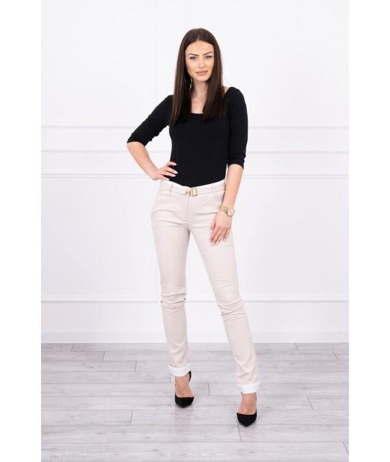 Elegant Kelnės su diržu (Smėlio spalva)