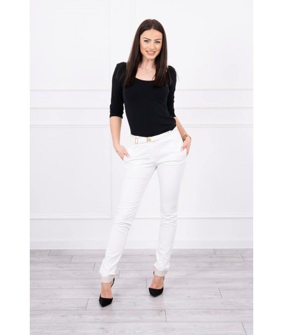 Elegant Kelnės su diržu (Šilko spalva)