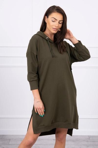 Suknelė su gobtuvu ir ilgesne nugara (Khaki)
