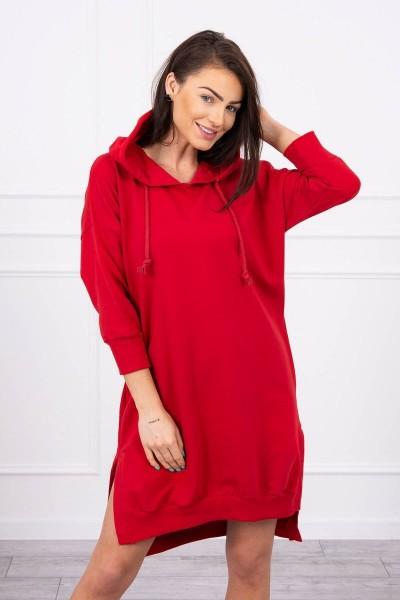 Suknelė su gobtuvu ir ilgesne nugara (Raudona)
