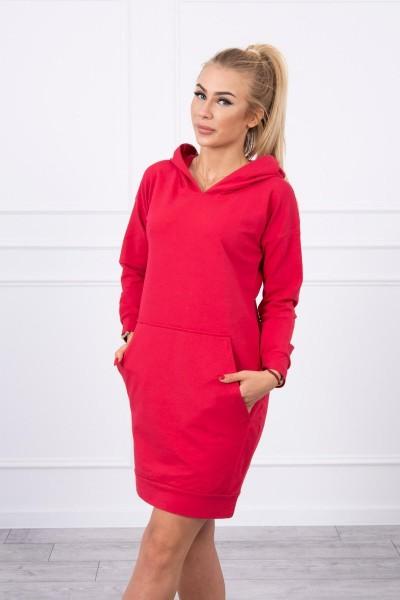 Vienspalvė suknelė džemperis su gobtuvu (Raudona)