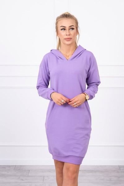 Vienspalvė suknelė džemperis su gobtuvu (Violetinė)