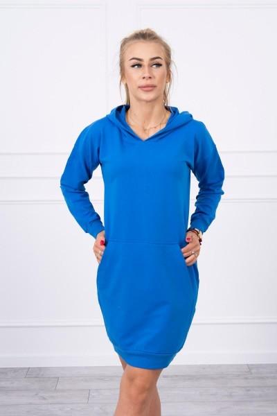 Vienspalvė suknelė džemperis su gobtuvu (Mėlyna)