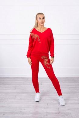 Laisvalaikio kostiumėlis su panteros dekoracija (Raudona)