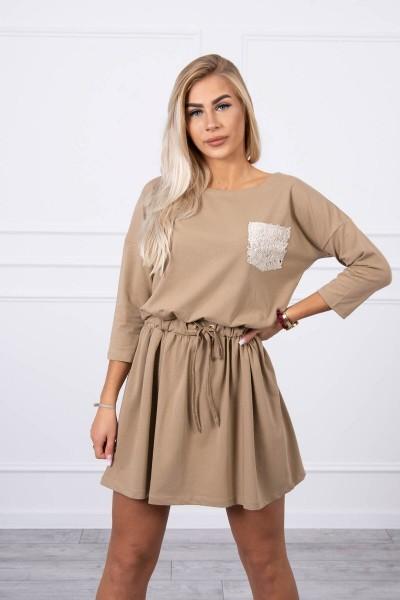 Suknelė su blizgančia kišene (Šviesiai ruda)
