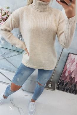 Megztinis su aukšta apykakle (Smėlio spalva)