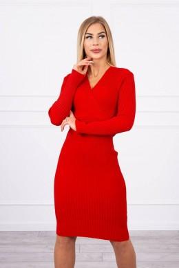 Megzta suknelė su V formos iškirpte (Raudona)
